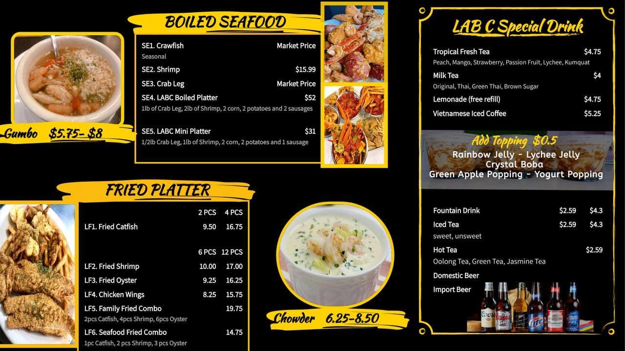 Menu Lab C Kitchen - Restaurant 107 Childers Dr. Suite 100, Bastrop, TX 78602
